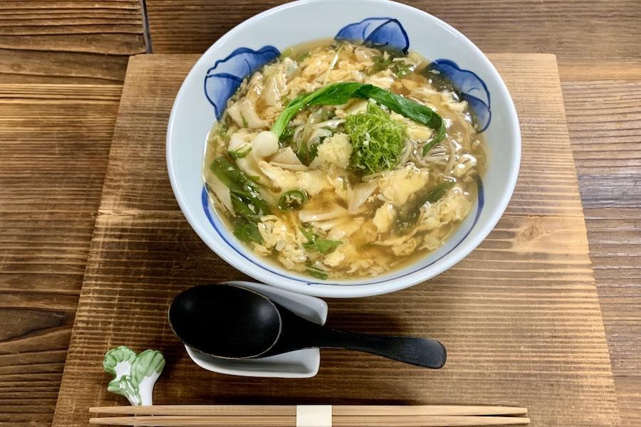 美山湯葉と京北青菜の蕎麦